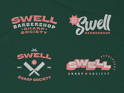 Swell I branding typography monogram barbershop surf