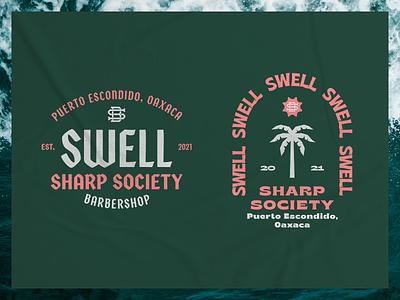 Swell II sea monogram branding palmtree typography surf barbershop