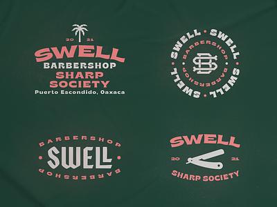 Swell III razor palmtree branding typography monogram sea surf barbershop