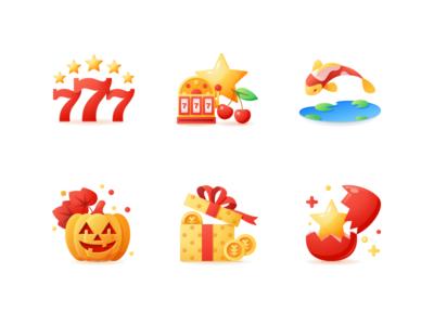 Casino Icons coins gift box pumpkin jackpot cherry fish slots casino adobe illustrator flat vector icons
