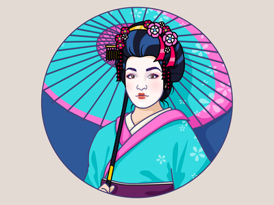 One Of My Clients... girl japan avatar illustrator contour vector