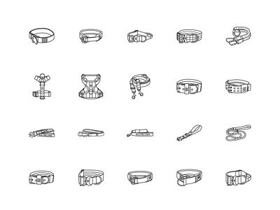 Dog Collars Icons collars illustrator contour icon vector