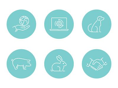6_Icons rabbit handshake pig dog adobe illustrator contour icon vector