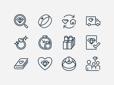 Simple value prop icons adobe vector illustrator icon gem contour