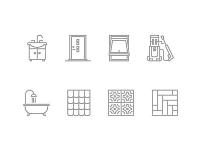 Building Icons stone pavement roof bath sink pressure-washer vector illustrator icon door window contour