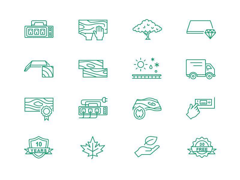Simple Outline Icons icon quality shield track leaf hand wood delivery maple tree socket power