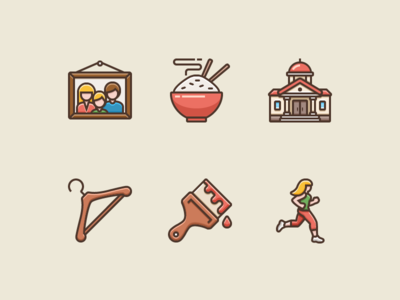 Icons for Language Learning app girl running brush hanger picture building rice family illustrator vector adobe