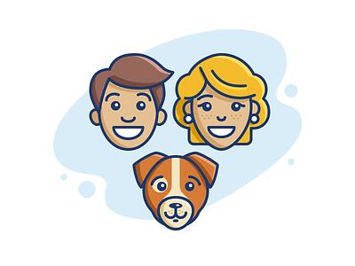 Young Family family face dog avatar girl guy illustrator vector contour icon