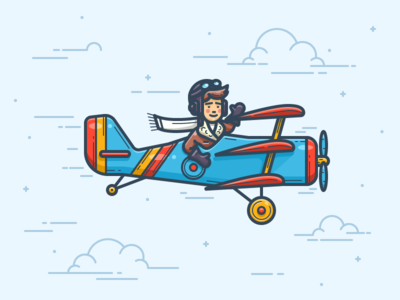 Airplane Icon clothes glasses helmet character clouds pilot airplane contour illustrator vector icon