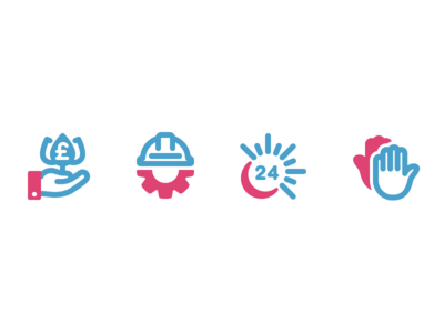 4 Icons 24 hours hand adobe illustrator flat contour vector icon