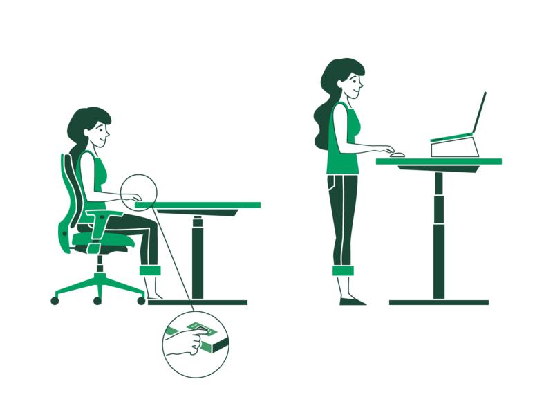 Instructions for proper posture chair girl instruction desk adobe illustrator flat vector illustraion