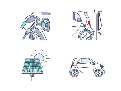 Electric car Icons sun illustrator car electric vector icon