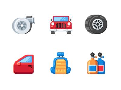 Car Service Flat Icons car seat wheel car door turbo nos bottle car illustrator flat vector icon