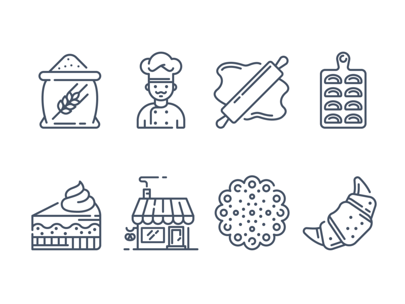Bakery icons pastry croissant cookies cake flour bakery vector adobe illustrator contour icon