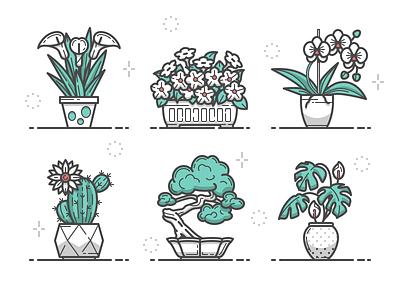 Plants Icons home plants flowers adobe illustrator vector icons