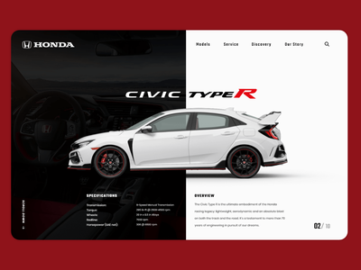 Honda Civic Landing Page ui design landing page design website web design landing page