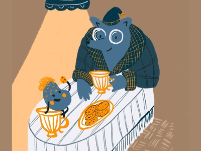 The Mole and the Truffle cozy food table tea truffle mole children book illustration character design commercial illustration digital illustration