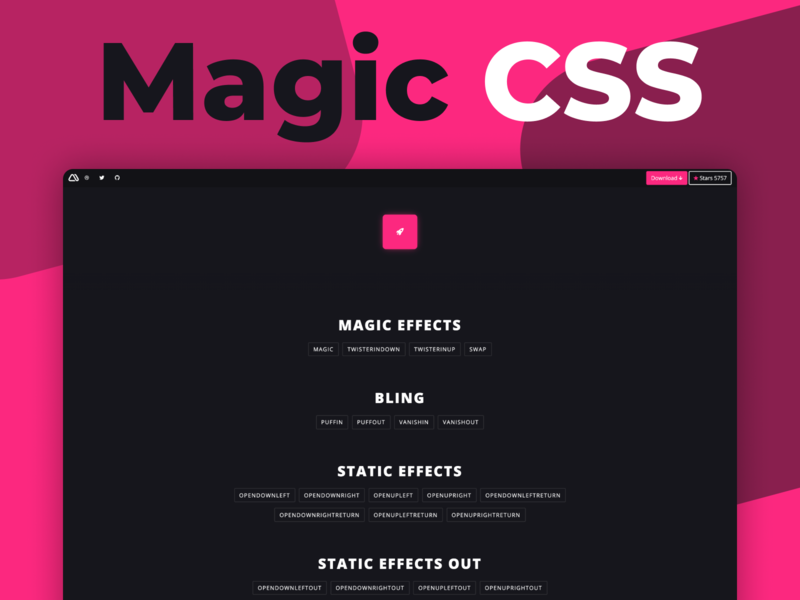 Magic CSS new version 🤙 dark web magic effects github css3 animations css animation css