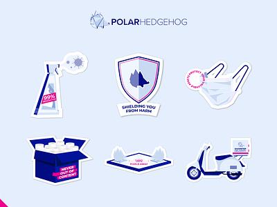 Polar's Creative Aid corona icon illustrator logo branding vector typography art design illustration stickers