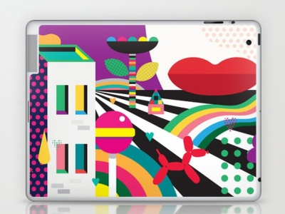 Her Happy Place Laptop Skin computers technology fashion beauty abstract fun branding lifestyle whimsical colorful design digital art vector illustration
