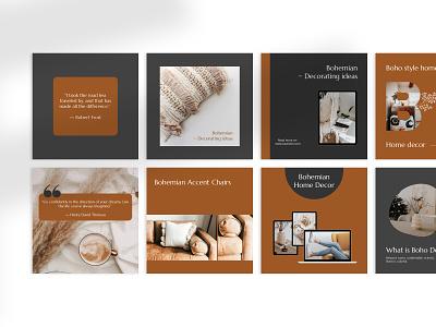 BOHEMIAN - Canva Instagram Template branding instagram template brown grid layout design