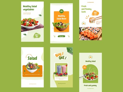 Canva - Healthy Food Instagram Stories Social Media Templates green healthy layout instagram template layout design branding canva template instagram post design food healthy food