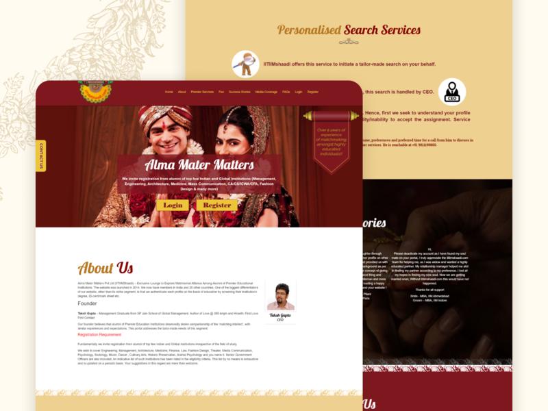 IIT-IIM Shaadi - Matrimonial Landing Page landing page matrimonial flat ui ux minimal design