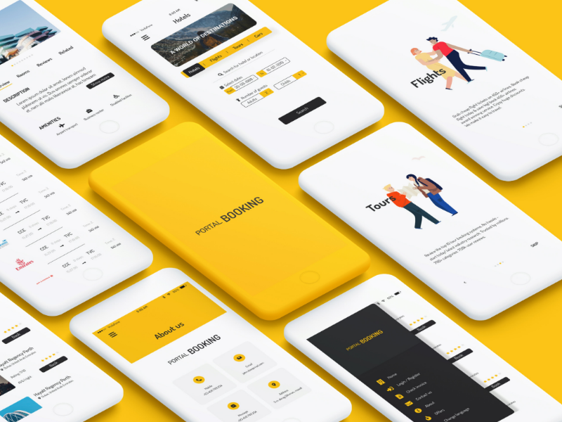 Clean yellow UI for travelling app yellow phone ios android design booking app ux ui