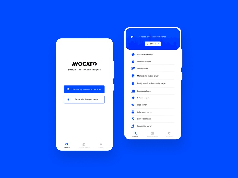 Avocato UI white ui ux phone mobile logo law design blue app