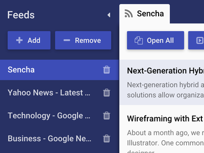 Sencha Theming Contest - First Place Winner theme rss material material design sencha extjs