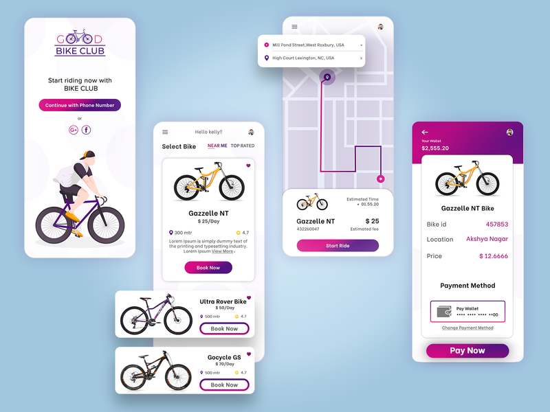 Bike Sharing Mobile Application photoshop xd adobexd mobile app design mobile design mobile app mobile ui hire cycle hire bike accessories cycle booking cycle ride sharing biztechcs biztech ux concept ux design ui design ux ui