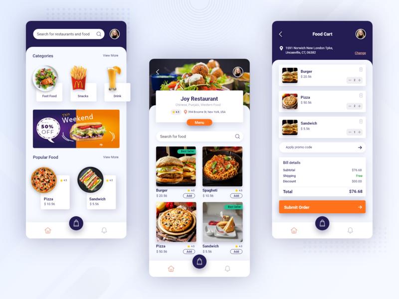 Food Order Mobile Application fast food restuarant design mobile app design mobile design mobile app mobile booking app food and drink food app biztechcs biztech ux concept ux design ui