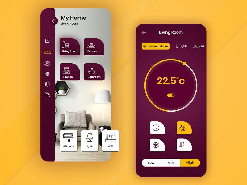 Smart Home Mobile Application biztechcs biztech xd adobexd photoshop uxconcept uidesign uxdesign uiconcept home mobile app design mobile design mobile app smart home smarthome ux ui