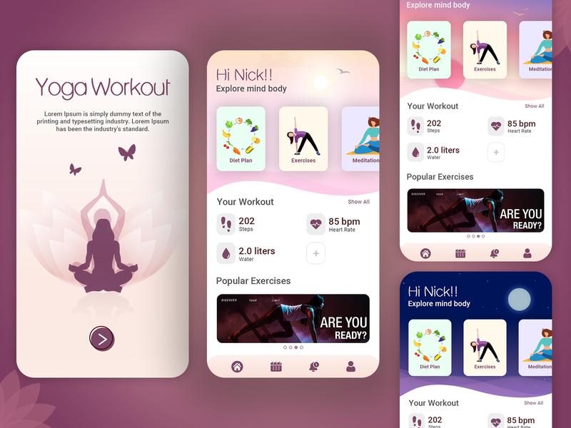 Yoga Workout Mobile Application biztechcs biztech mobile app design mobile design mobile app mobile ui uidesign uxdesign adobexd xd photoshop workout yoga app yoga ux uiux