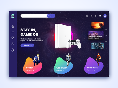 Game Website Home Page playstation uxstrategy photoshop ux ui game design games biztechcs biztech website design uidesign uxdesign gameui