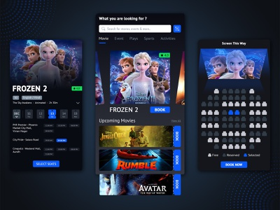 Movie Ticket Booking Application ux ui ux design event booking event app booking system movie booking bookings booking app uidesign uxdesign mobile app mobile app design biztechcs biztech