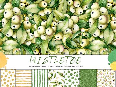 Seamless pattern, mistletoe berries and leaves. Watercolor набор свадьба открытка графика клипарт букет design illustration снежная ягода узор акварель листья омела ягода