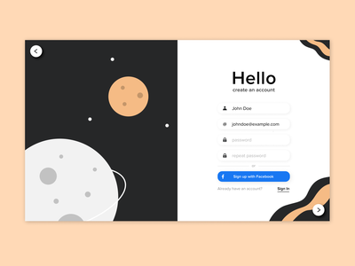 Illustrated Sign Up form design sign in website minimal bold flat process debut hello cosmos form dailyui illustration ui ux sign up