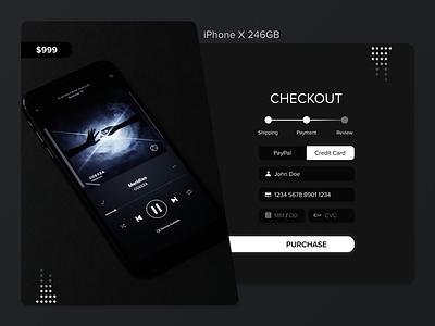 Dark Mode Checkout Concept flow form design shopping cart shopping app dark mode wallet checkout flow dark ui forms shopping darkmode checkout