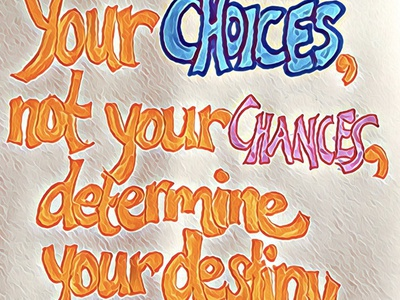 Choices Not Chances flat typography design