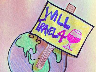 Will Travel 4 Wine flat illustration design