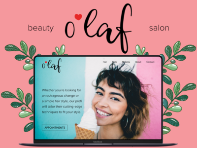 beauty salon website shot lettering ux art typography website logo branding ui web design