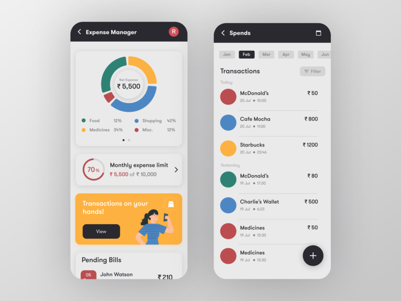 FinPal - Expense Manager screen uidesign app ui bills expense manager expense tracker expenses transaction loan personal finance credit card banking app bank app banking financial app finance app finance