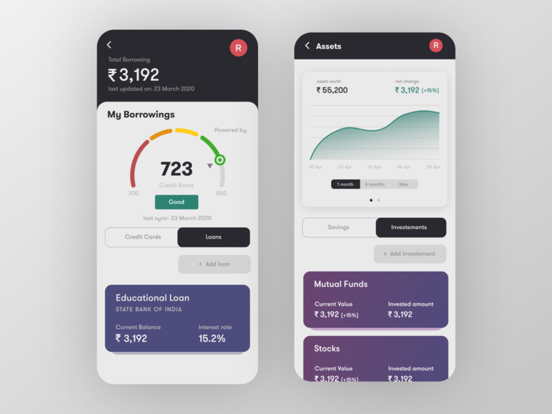FinPal - Loans and Investments UI design credit score creditcard credit card investment app investor investing bank app bank card bankingapp bank banking app banking app userinterface uidesign ui investments investment loans
