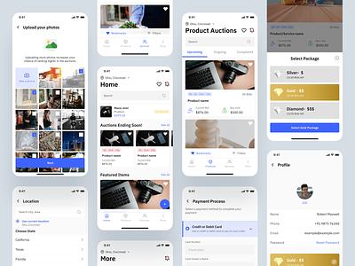 Bidding Mobile App package location home platform payment profile featured service sale auctions auction bidding bids bid figma uidesign userinterface dribbble app ui