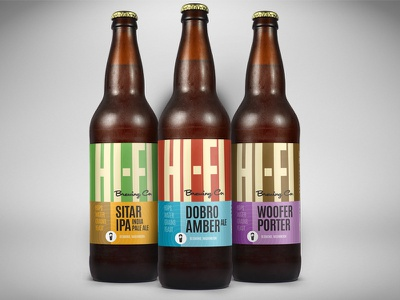 Hi-Fi Brewing Company Bomber Label Designs ales vintage brewing quality sound hi-fi labels beer