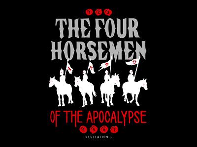 The Four Horsemen of the Apocalypse black illustration lettering revelation death judgement bible