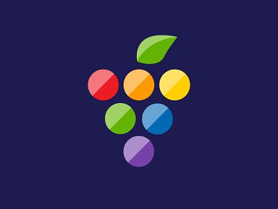 Rainbow Grapes Logo lunch food spectrum rainbow simple fruit logo grapes