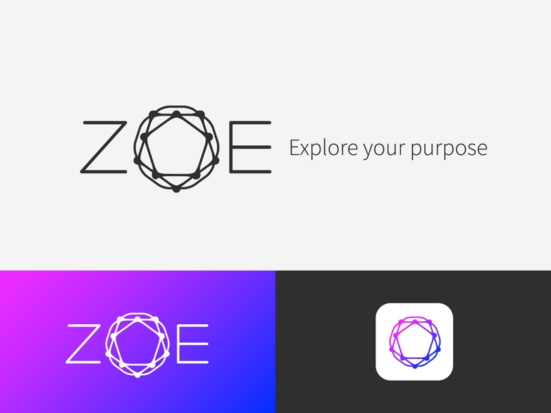 Unused Zoë logo concept V1 sage typographic rings interconnected connected