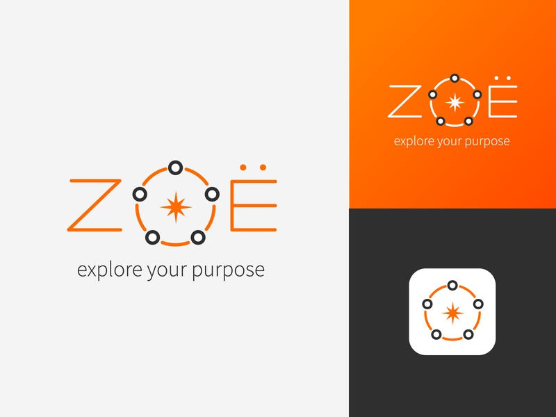 Unused Zoë logo concept V2 constellation typographic compass direction interconnected connected